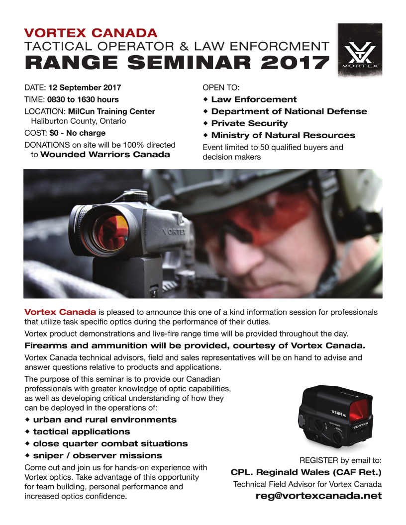Vortex Canada Range Seminar 2017  No $ Charge.  See poster for Details